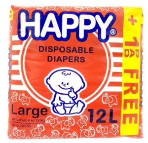Happy Disposable Diapers 12pcs (Assorted Sizes)