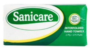 Sanicare Paper Towel Interfolded Regular 1ply 175pulls