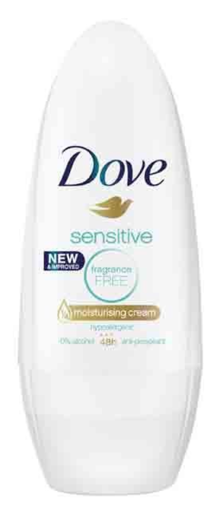 Dove Roll On Deodorant Sensitive Fragrance Free 40ml