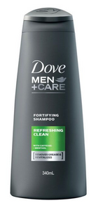 Dove Men Fortifying Shampoo Refreshing Clean with Caffeine and Menthol (Various Sizes)