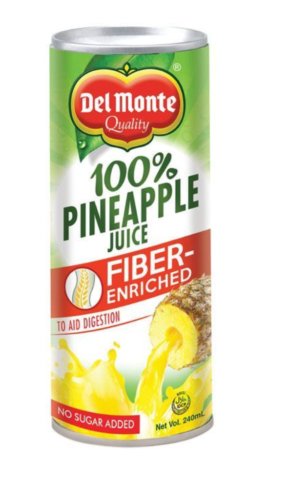Del Monte 100% Pineapple Juice Fiber Enriched 240ml