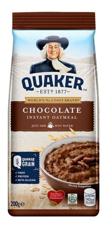 Quaker Instant Oatmeal Chocolate 200g
