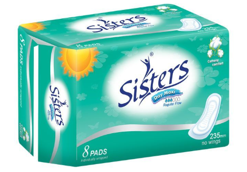 Sisters Day Maxi Sanitary Napkin Cottony Comfort Without Wings 8pcs