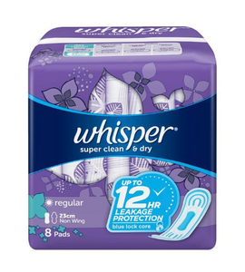 Whisper Clean and Dry Regular Flow No Wings (Assorted Sizes)
