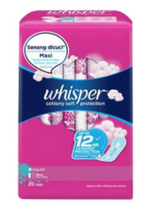 Whisper Sanitary Napkin Cotton Clean Regular Flow With Wings (Assorted Sizes)