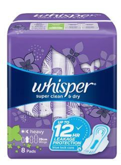 Whisper Clean and Dry Heavy Flow Overnight With Wings 8pcs