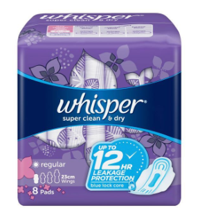 Whisper Clean and Dry Regular Flow With Wings (Assorted Sizes)