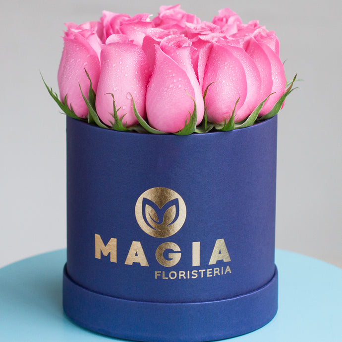Mini box azul 12 rosas.
