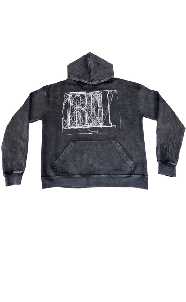 BLACK GRAPHIC HOODIE -SCRIBBLE