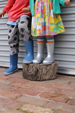 Silver girls gumboots. Powder blue boys gumboots