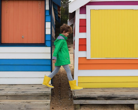 Raincoats and gumboots for boys