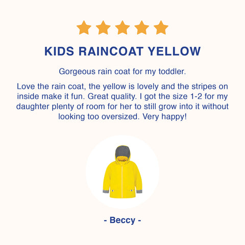 French Soda raincoats size guide