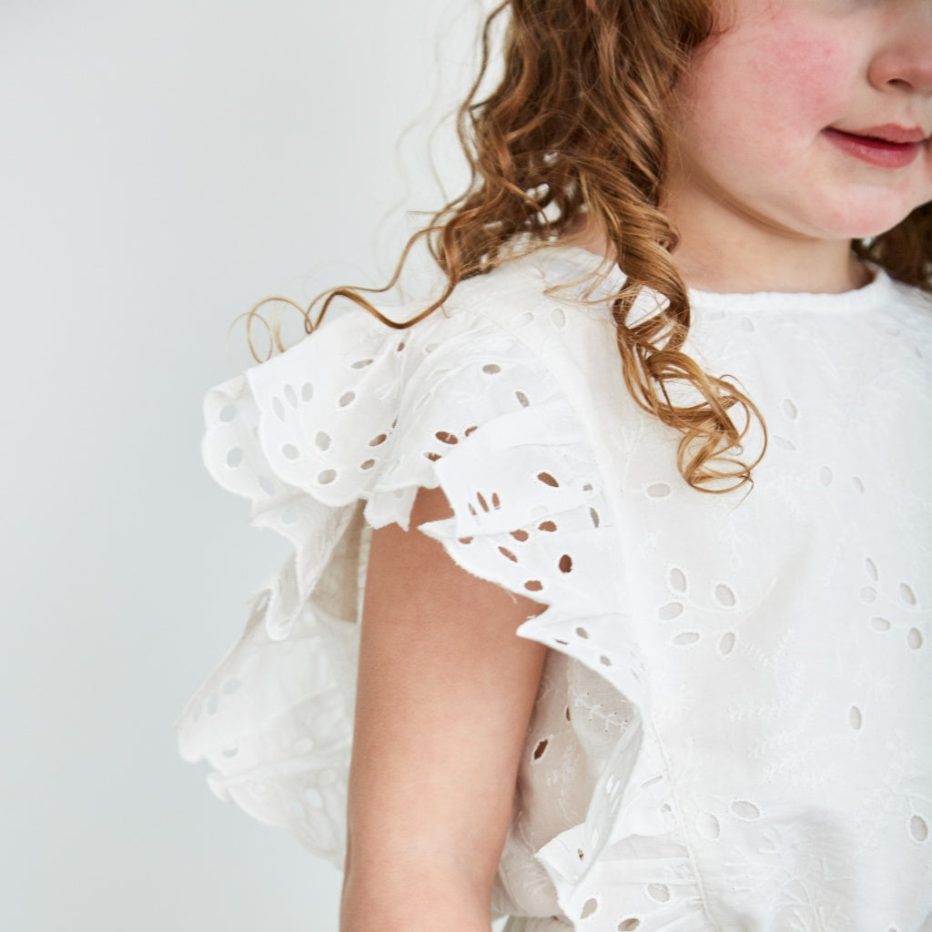 White flutter top kids