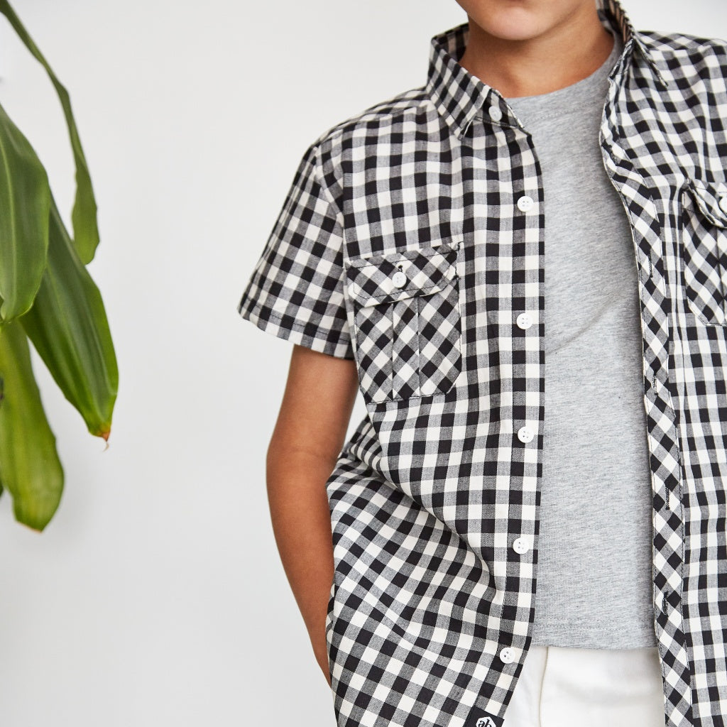 Boys gingham black and white