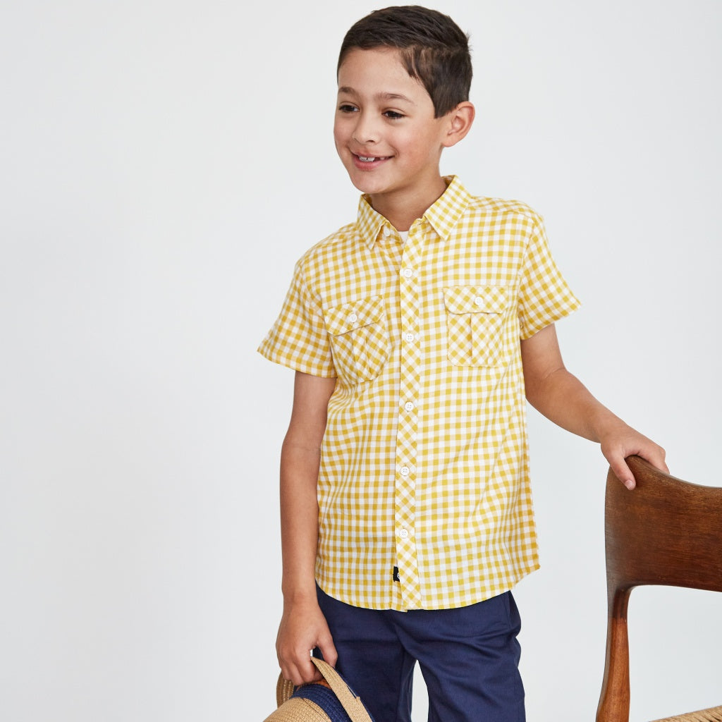 Kids Summer Dress Shirt Yellow White