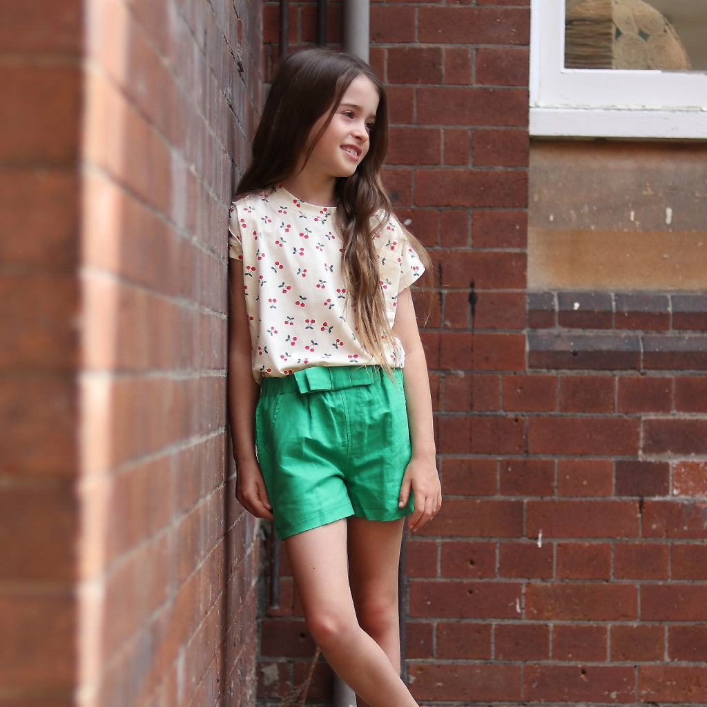 Cream cherry print top kids