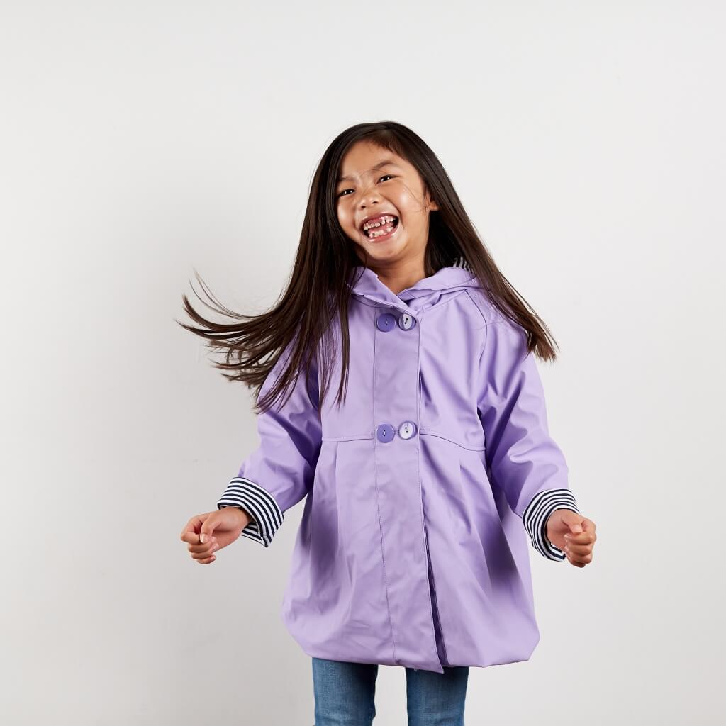 Purple raincoat with buttons and pleats