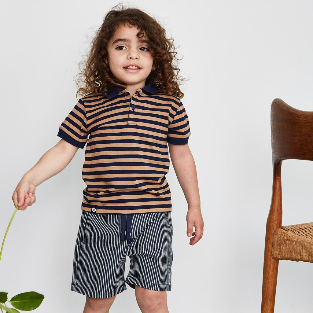 Boys polo navy stripe