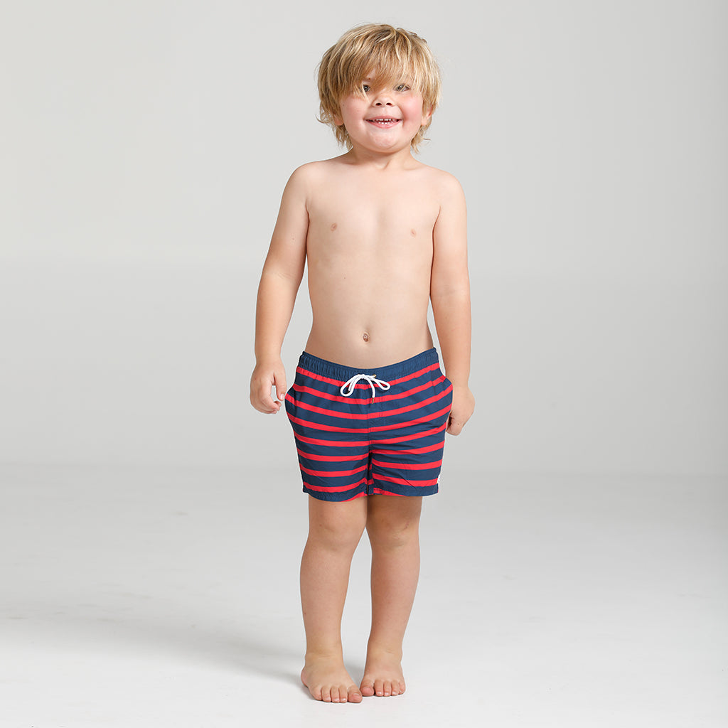 Navy and red stripe swim short