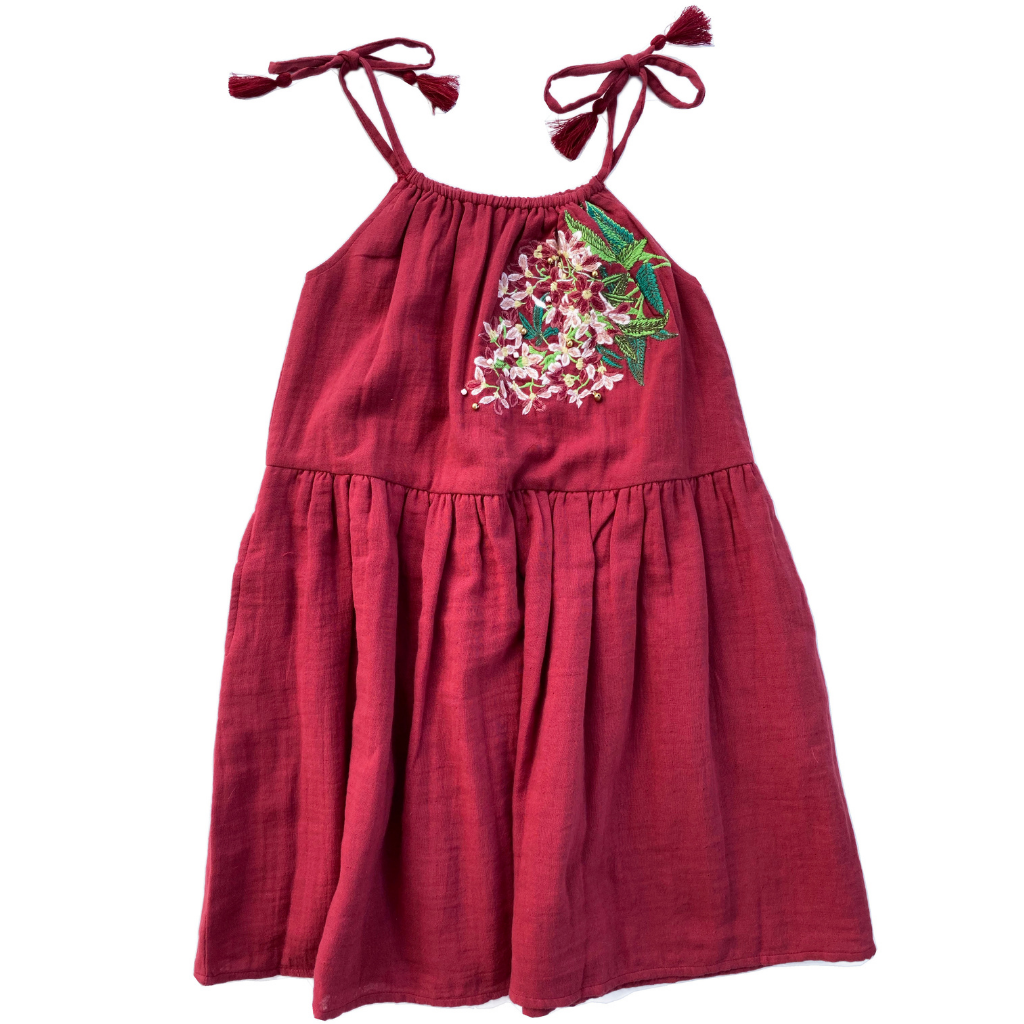 Red dress pretty flower embroidery