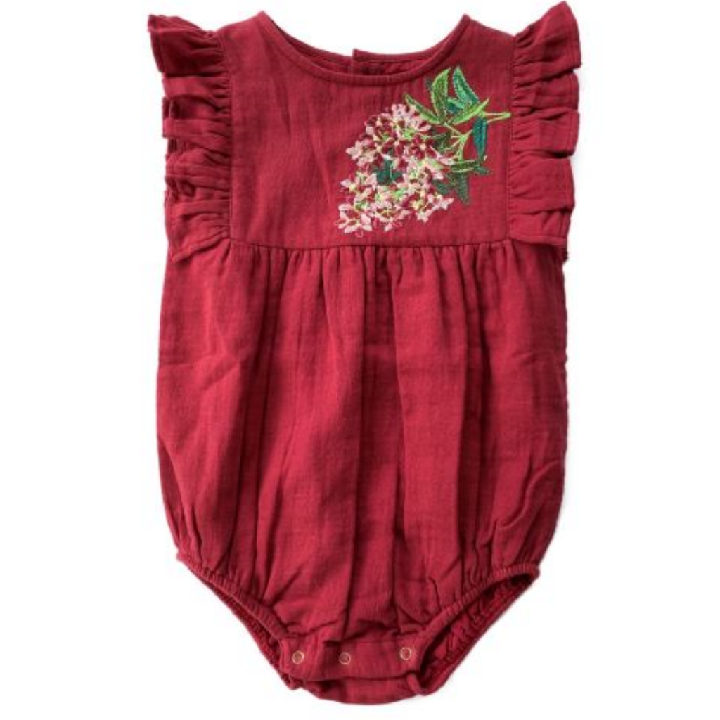 Deep red bella and lace christmas romper