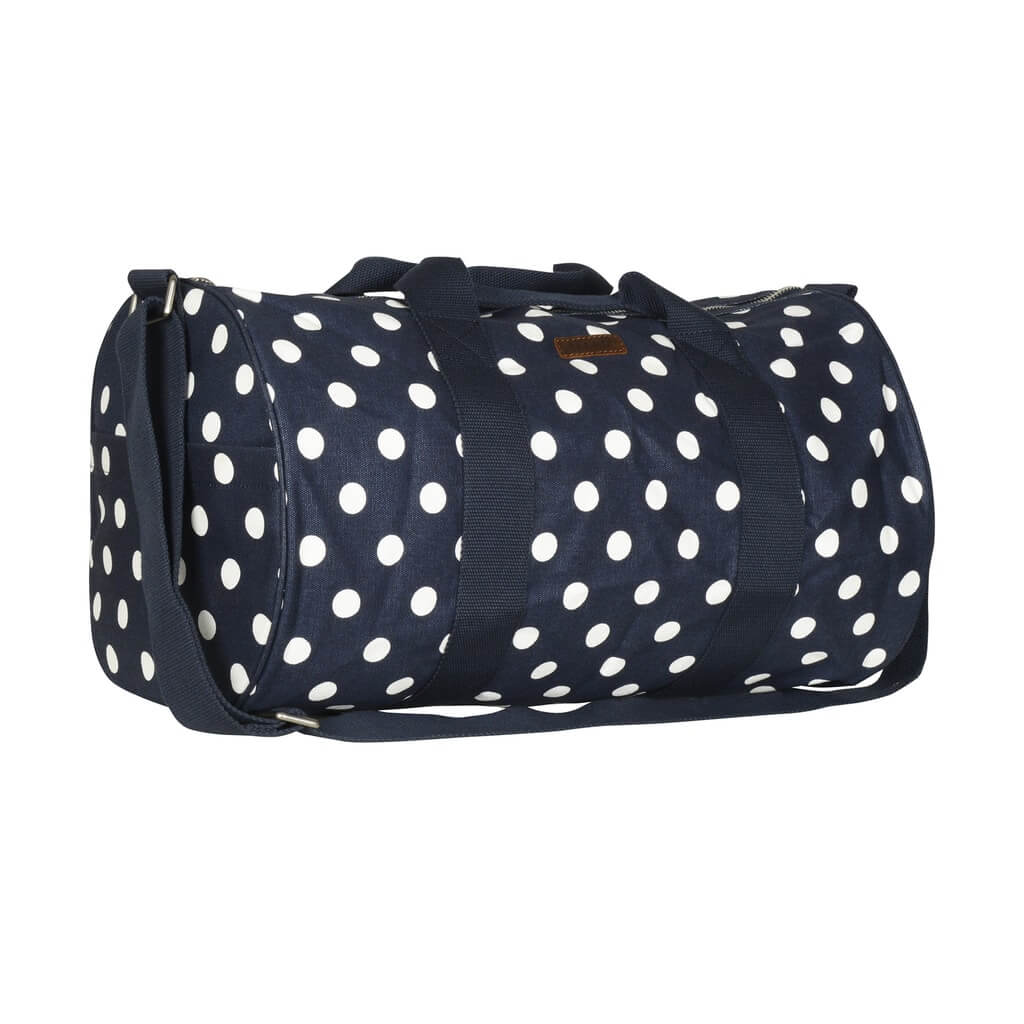Navy white spot weekend bag