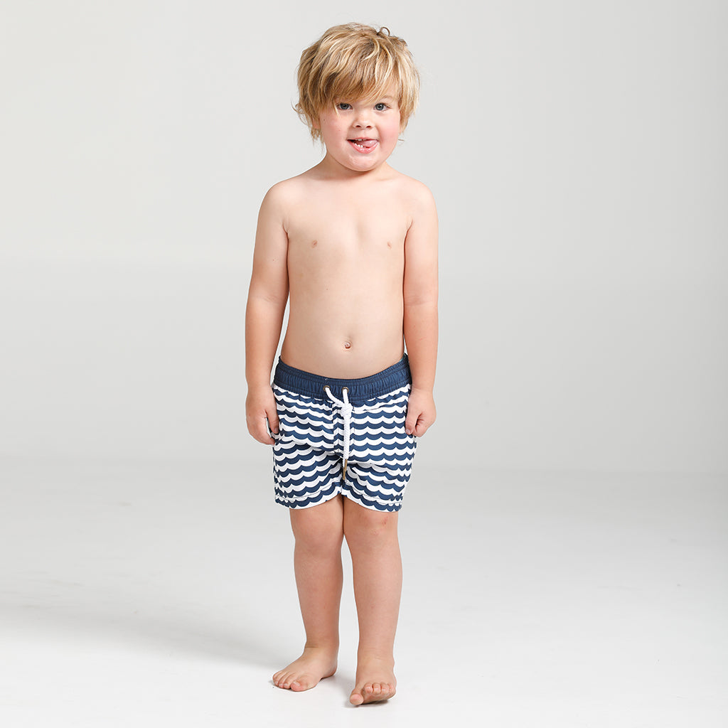 Boys swim shorts wave design