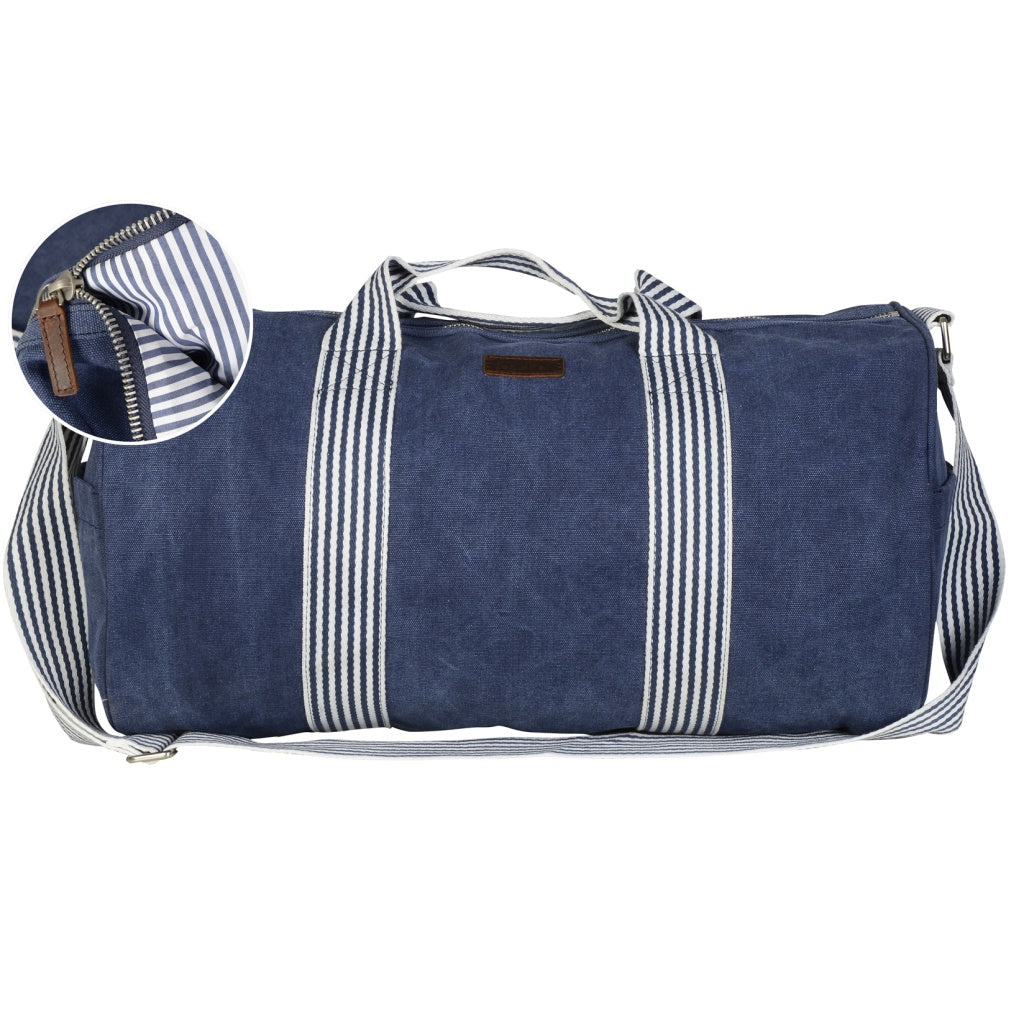 Navy weekend bag stripe handle