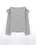 Girls stripe top with flutter detail
