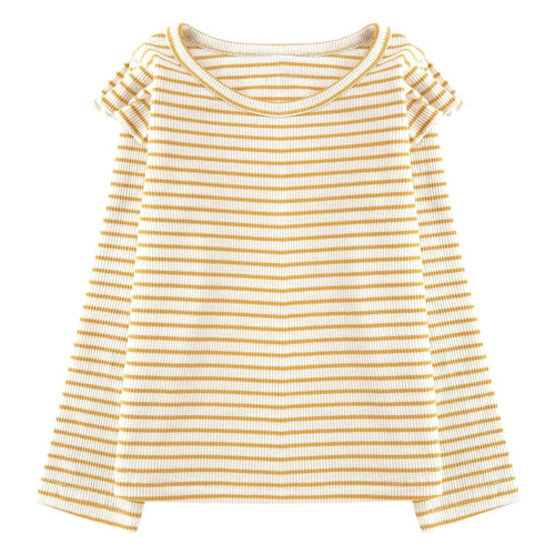 Girls Long Sleeve Top Mustard White Stripe