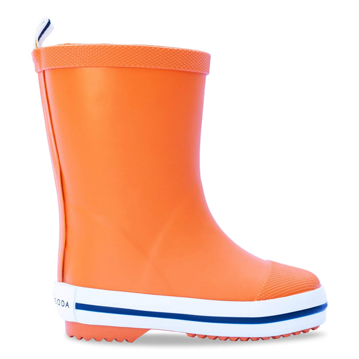 Kids rubber gumboot orange waterproof