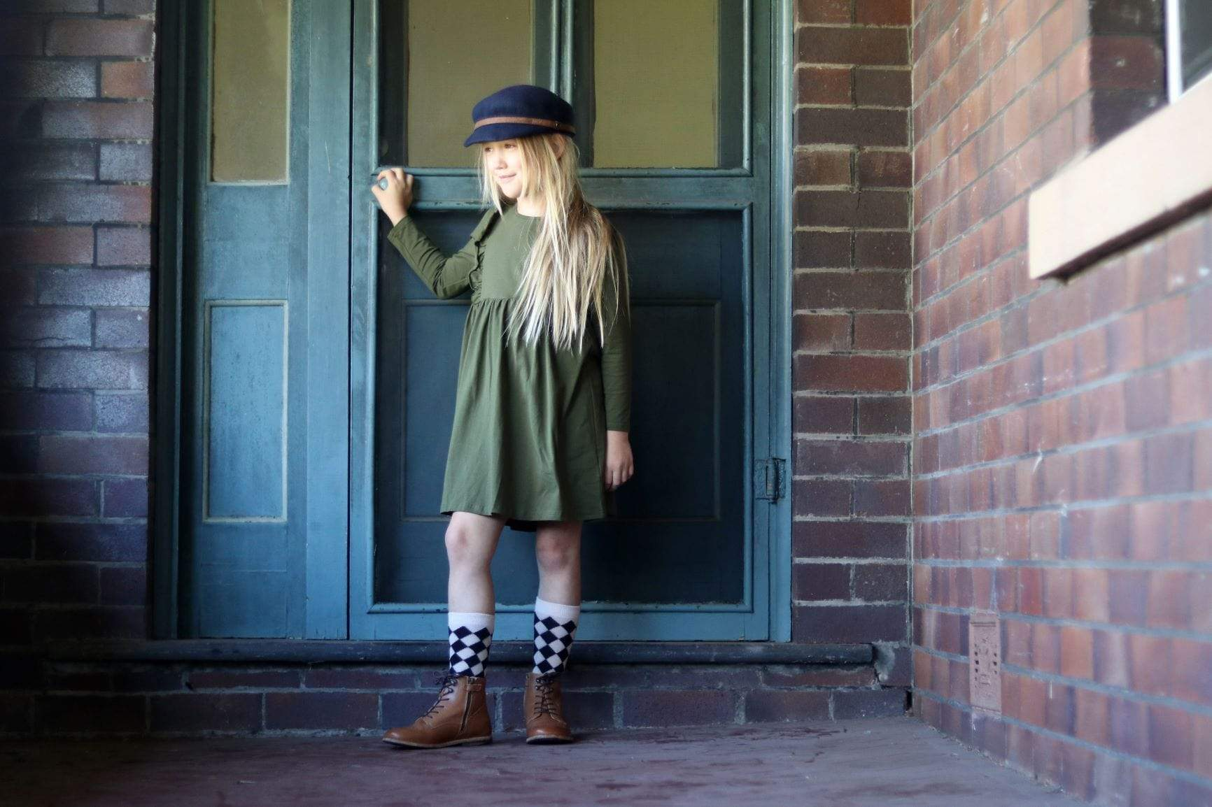 Girls long sleeve winter dress cotton olive green