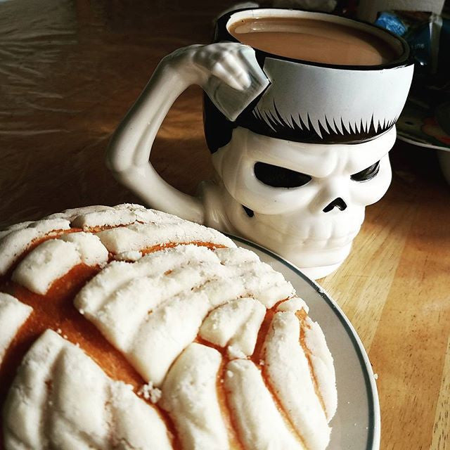 Suavecito Coffee Mug and a Pan Dulce Concha