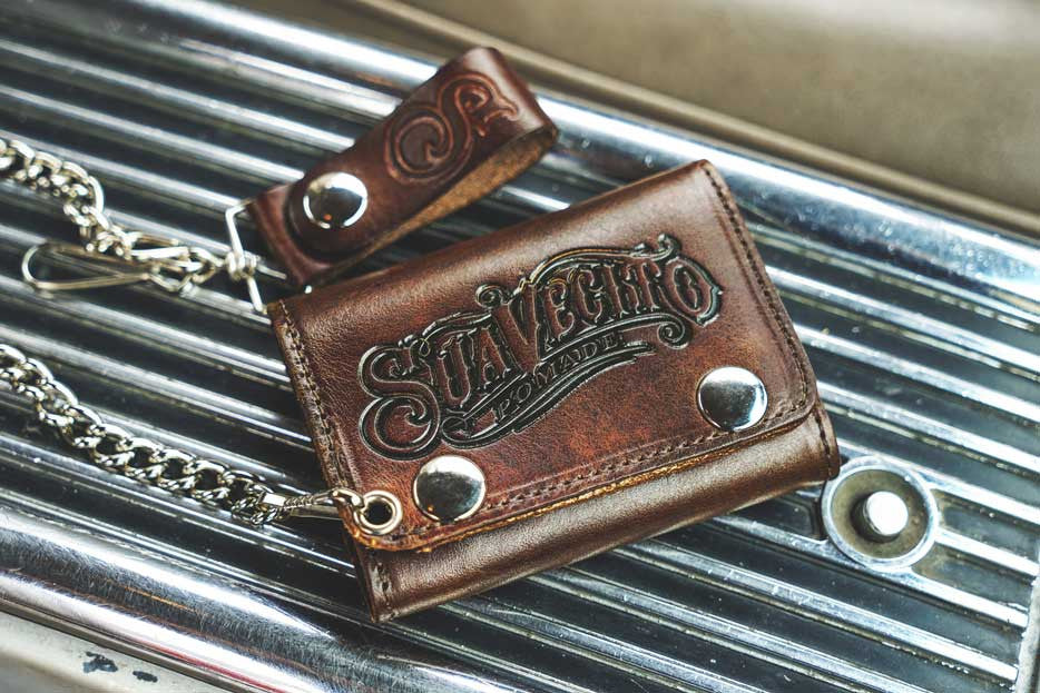Center Console Tri Folding Chain Wallet Antique Brown Suavecito Pomade