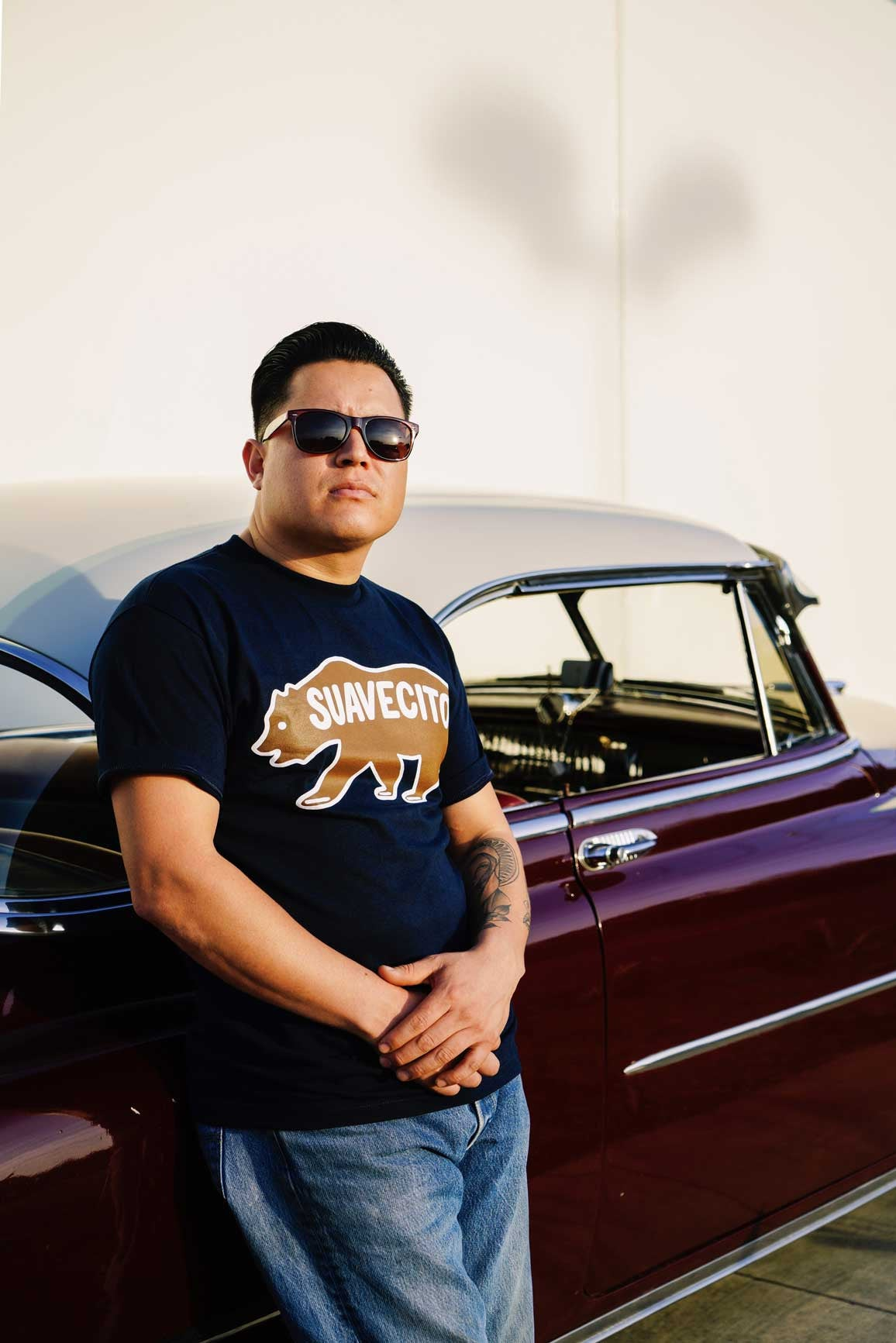Grizzly Tee Portrait 2 Vic and his Chevy Suavecito Spring '17