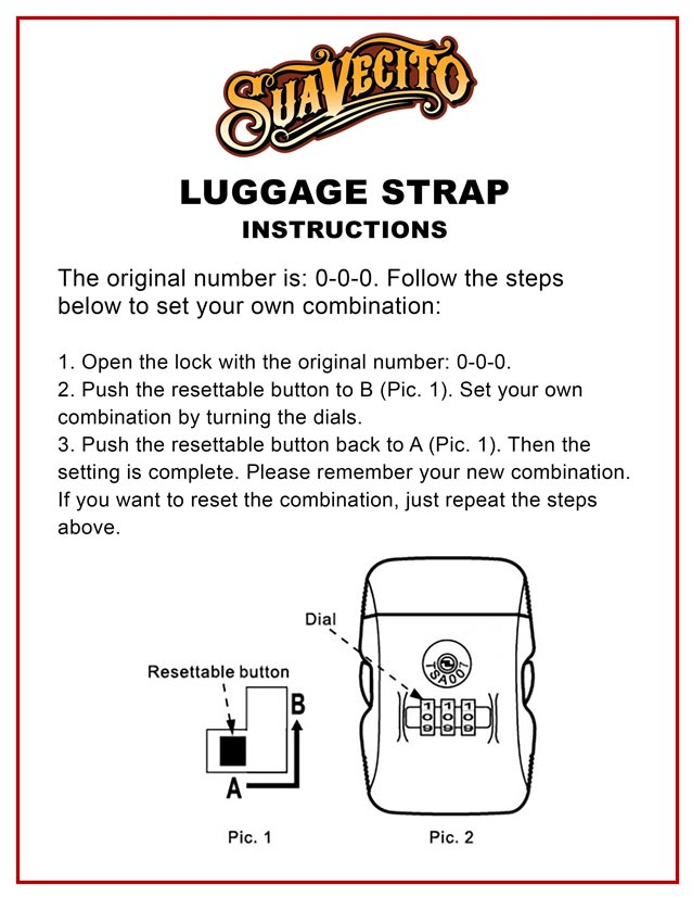 Suavecito Luggage Strap Instructions