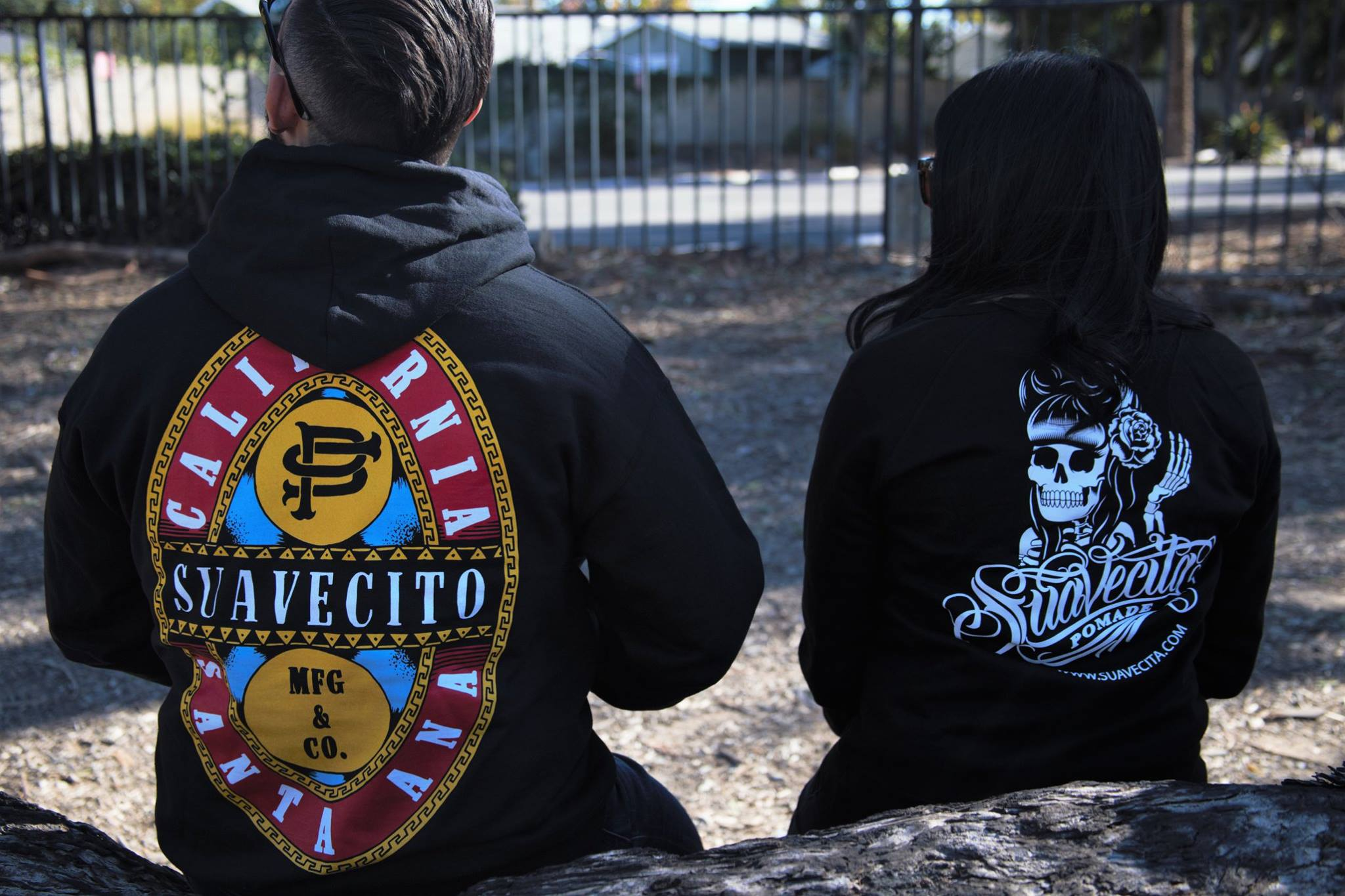 Male and Female Suavecito Pomade Sweaters at the park black color hoodies