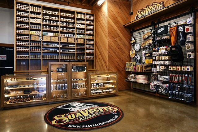 Suavecito Store front with pomade cans and apparel