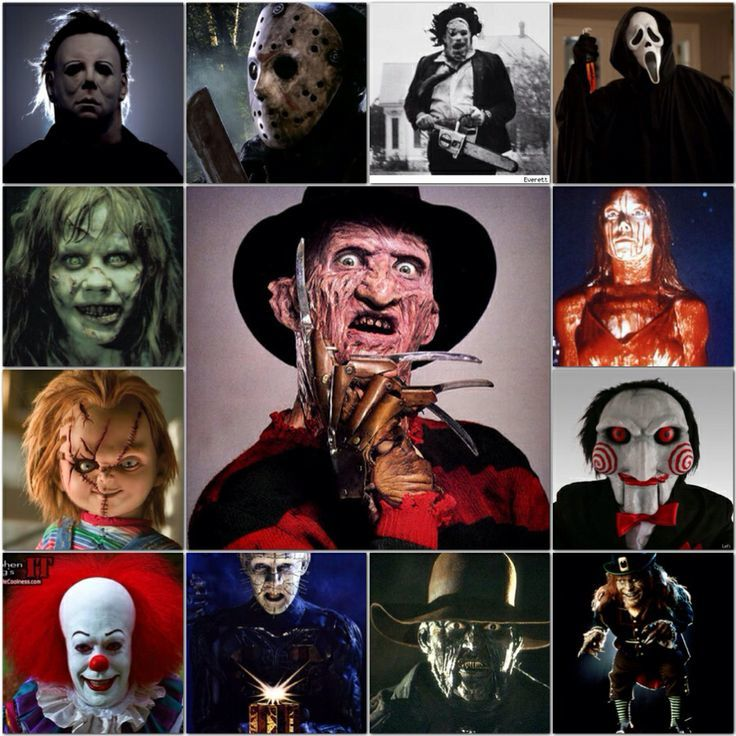 all of the horror movie villains in one picture side by side
