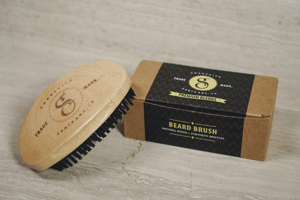 close-up-shot-of-suavecito-beard-brush-with-box-packaging