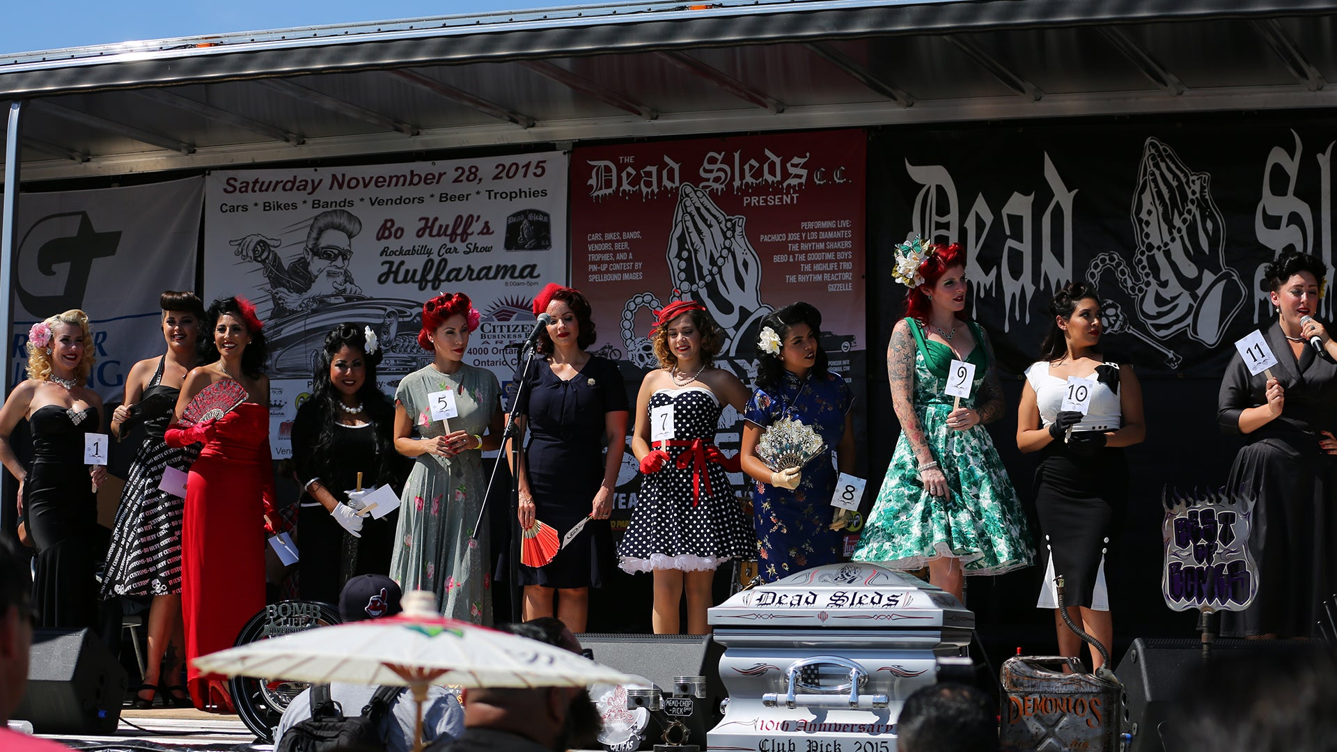 Pin Up Girl Contestants Dead Sleds Car Show Anniversary