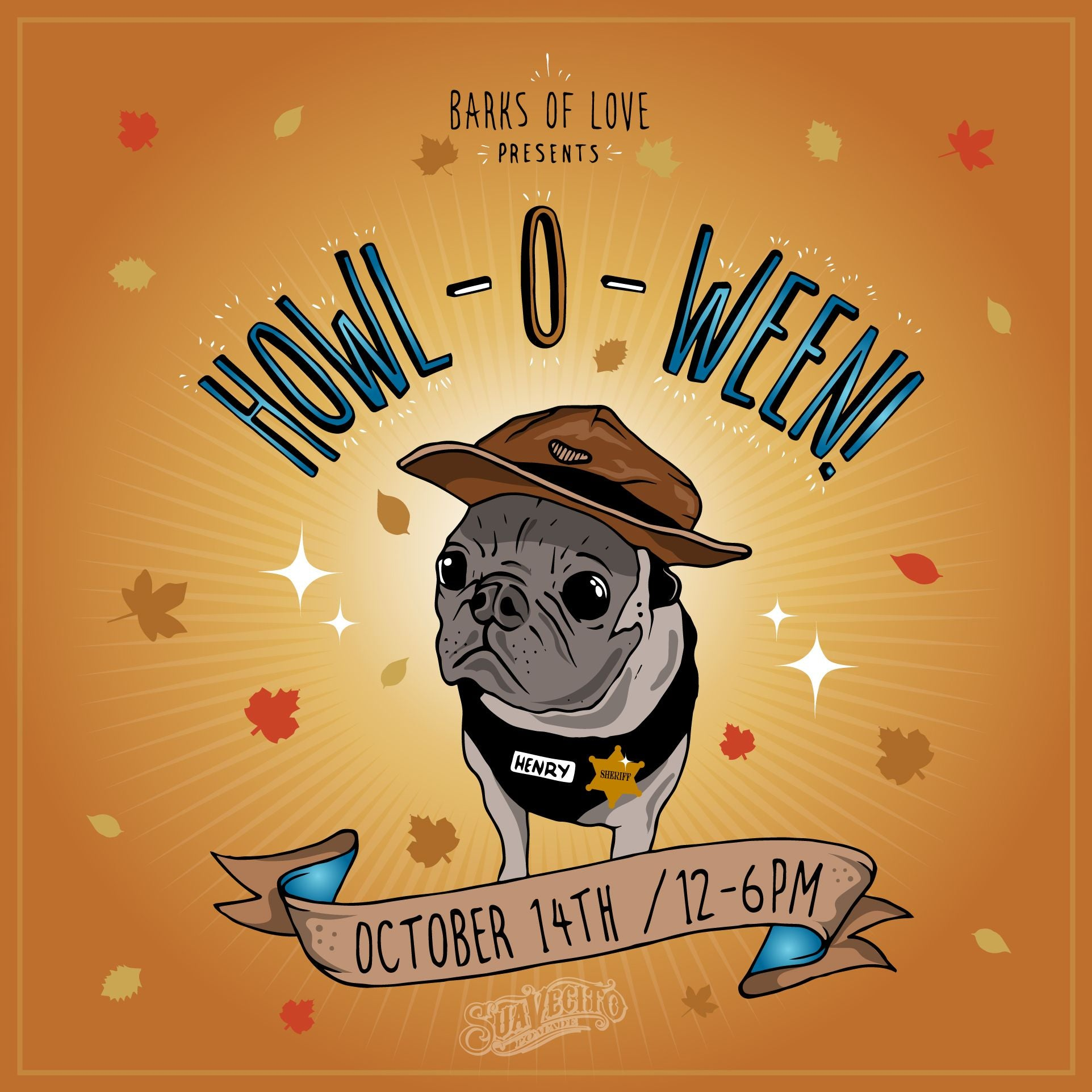 howl-o-ween poster for show with suavecito pomade and a pug dog