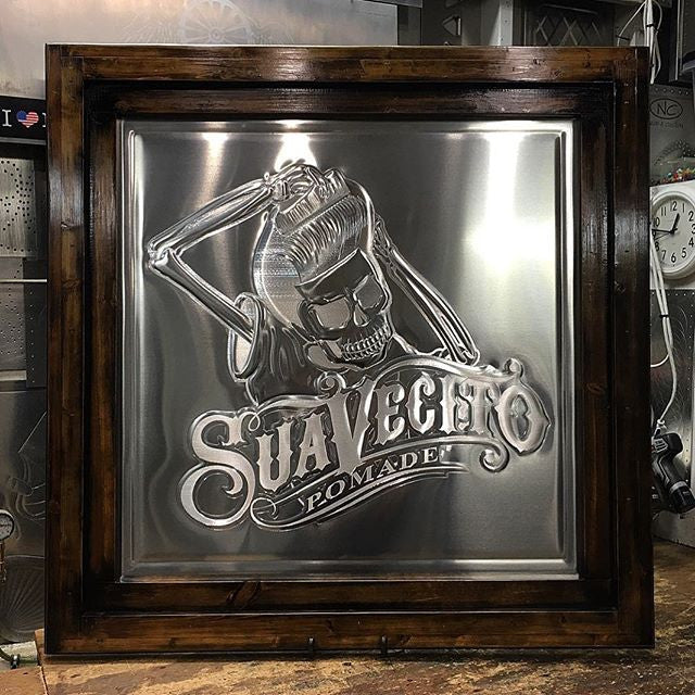 jameyjordan art piece made of metal for suavecito pomade