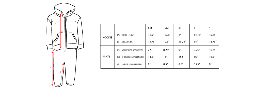 Kid's Sweatsuit Sizing