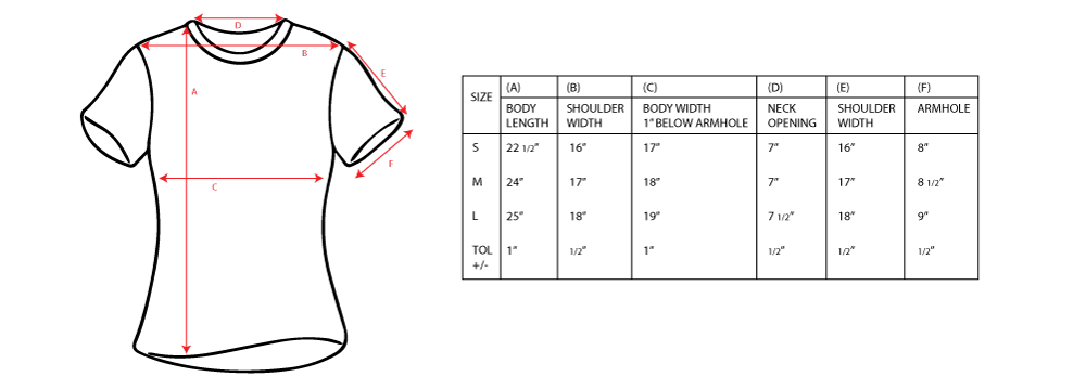 Kids Youth Tee Sizing
