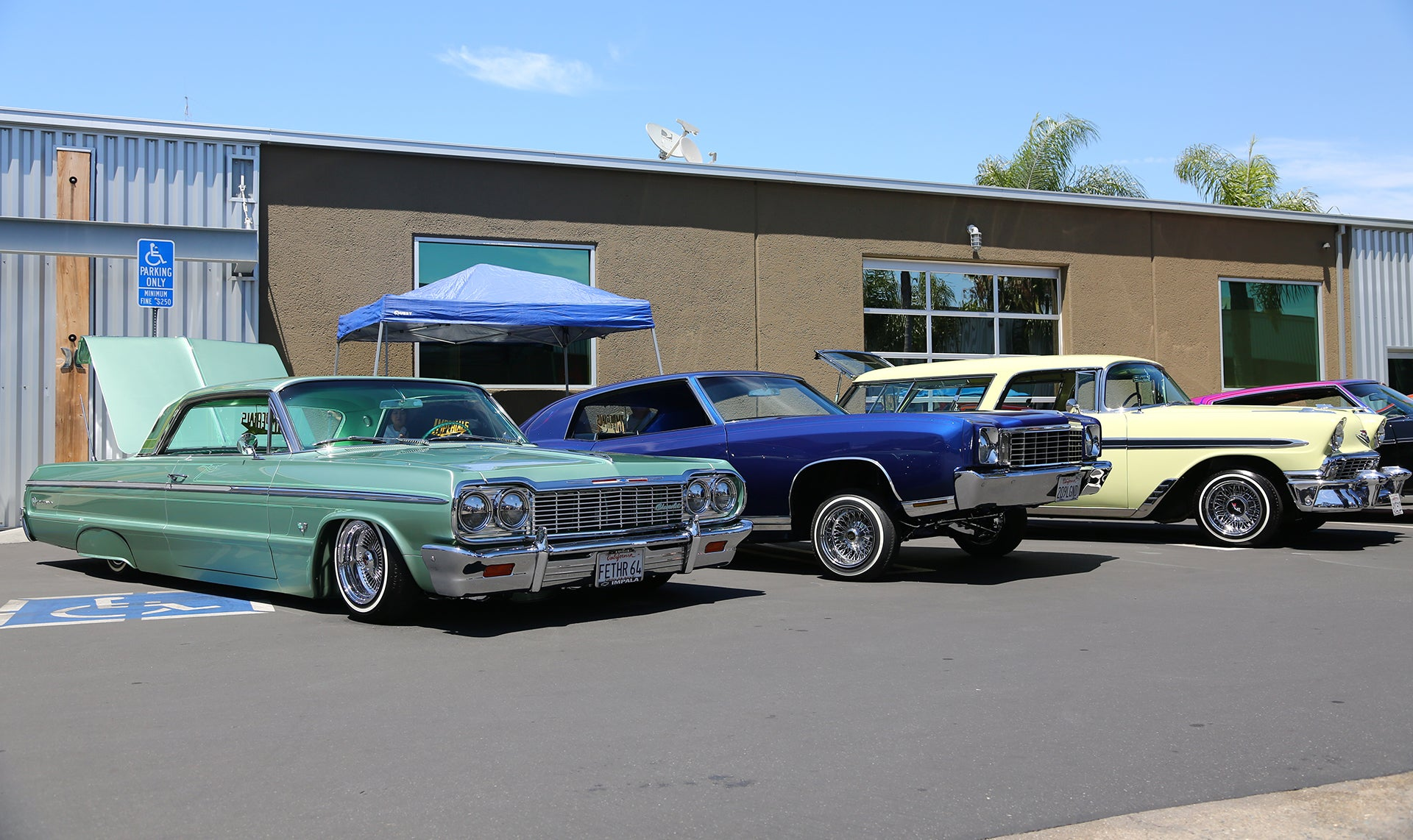 Lowriders lined up at Legacy show