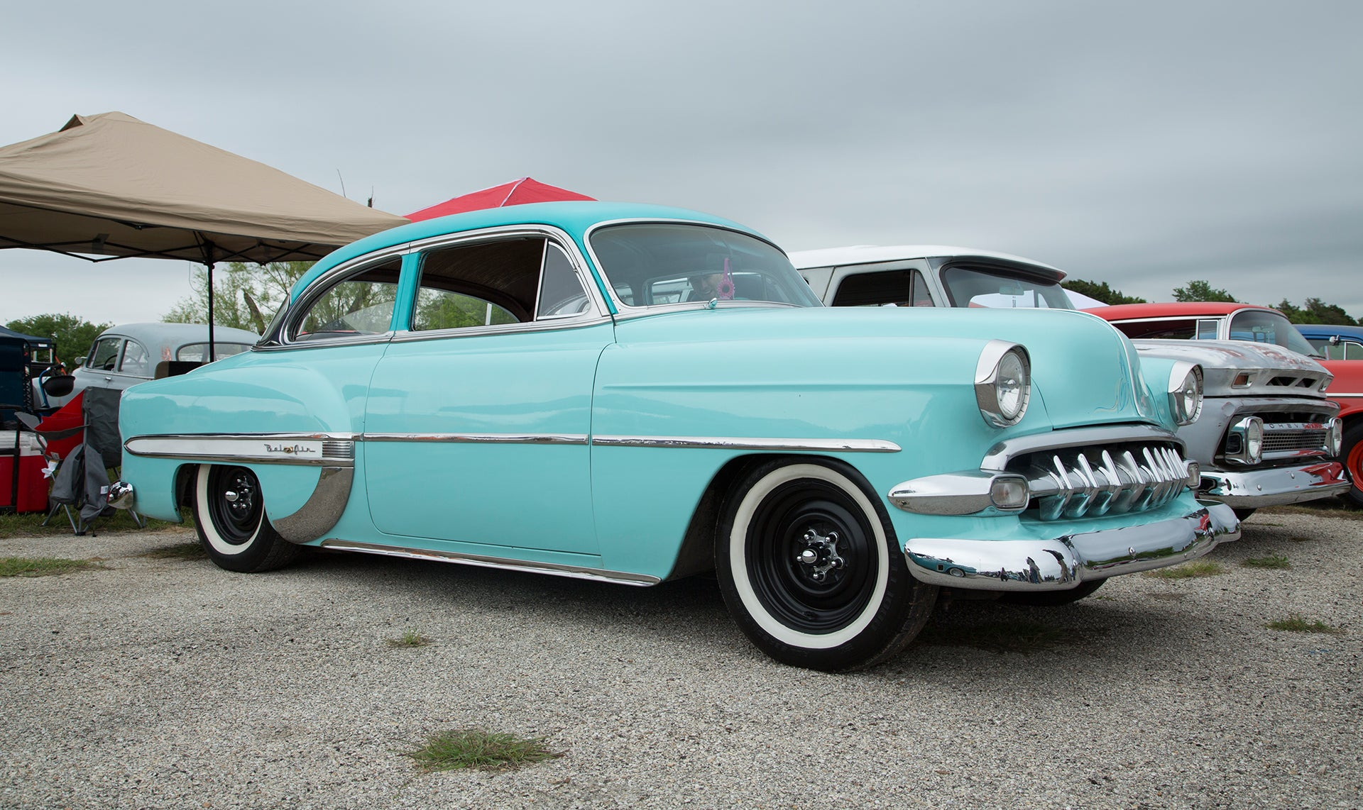 Beautiful teal colored chevrolet belair at the car show