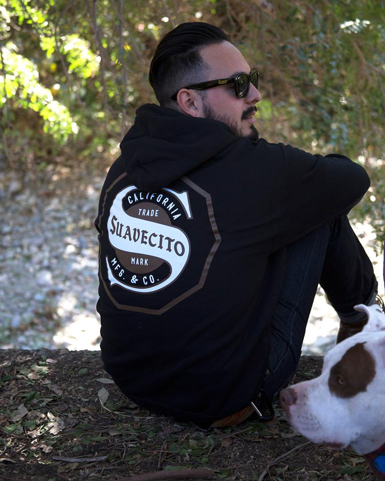 new winter sweater from Suavecito Pomade with doggo