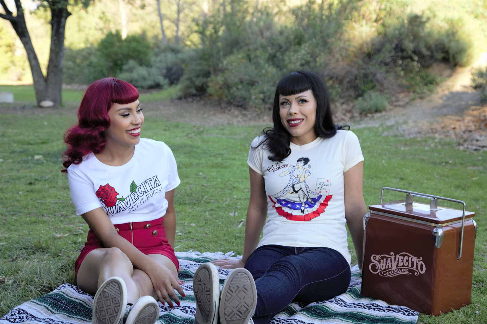 Suavecita babes having a picnic under the shade on a wam spring day