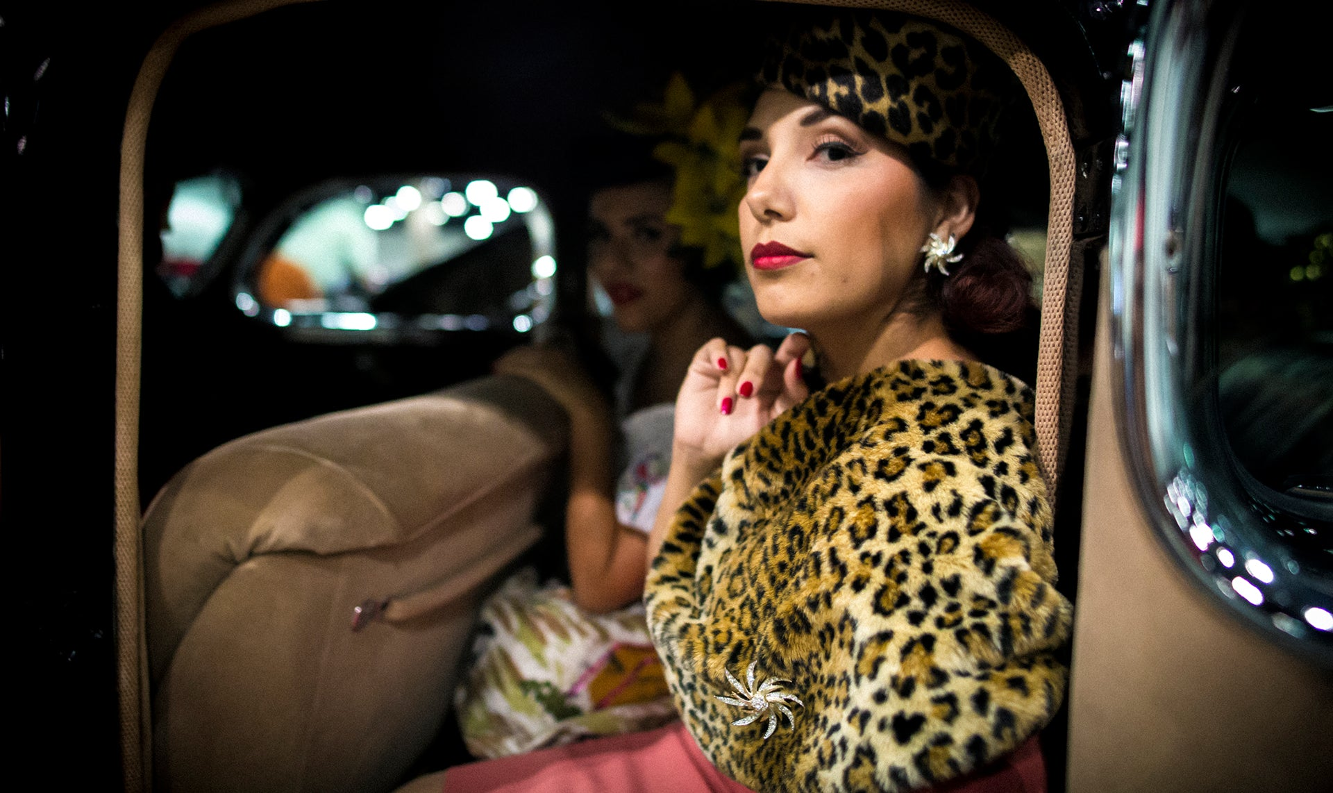beautiful rucca sitting inside of vintage car